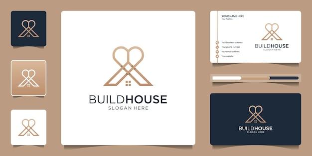 Hausliebe oder wohnungsbaudarlehen logo-design und visitenkarten-design-vorlage