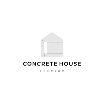 Hauslogo-ikonenillustration des herausgestellten betons