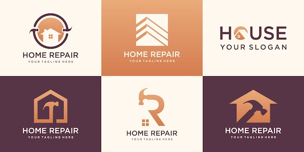 Hauslogo-set, kreative home-repair-logo-sammlung kombiniertes hammerelement, abstrakte gebäude.