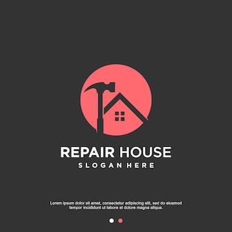 Hauslogodesign mit modernem abstraktem konzept reparieren premium-vektoren