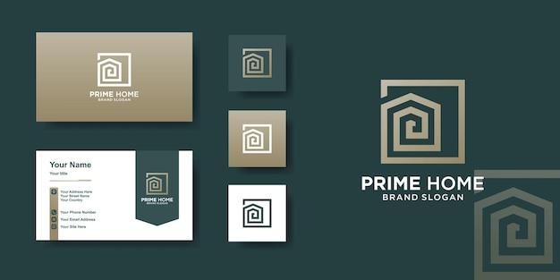 Hauslogoschablone mit kreativem linienkunststil und visitenkartendesign premium-vektoren