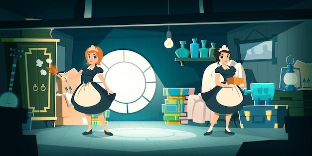 Hausmädchen räumen hausdachboden mit alten möbeln auf