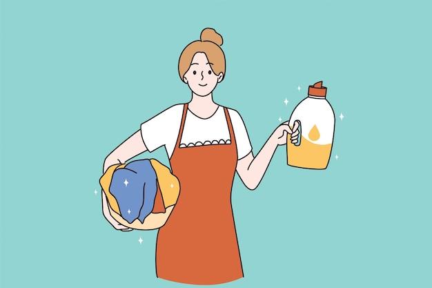 Hausmädchen- und hausfrauenkonzept
