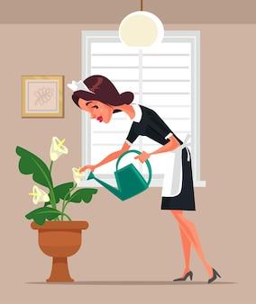 Hausmädchenfrauencharakter, der blumenkarikaturillustration wässert
