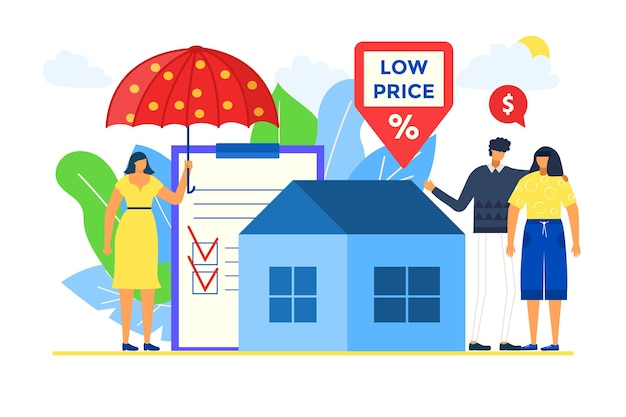 Hausmakler verkaufen immobilien mit versicherung, vektorillustration. eigentum mit niedrigem preis für mann-frauen-charakter, paar kauft haus mit hypothek. makler halten regenschirm, stehen in der nähe von papierform.