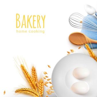Hausmannskost bearbeitet realistische zusammensetzung der küchenbackengeräte mit hölzernem löffel wischen teelöffelkörnereier