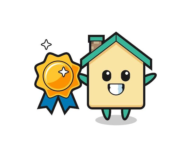 Hausmaskottchenillustration, die ein goldenes abzeichen, niedliches design hält