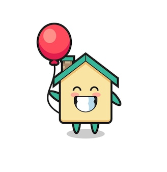 Hausmaskottchenillustration spielt ballon, niedliches design