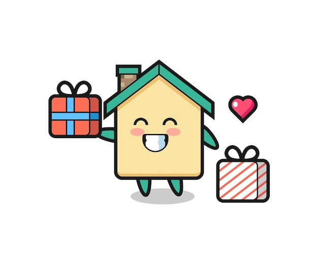 Hausmaskottchenkarikatur, die das geschenk gibt, niedliches design