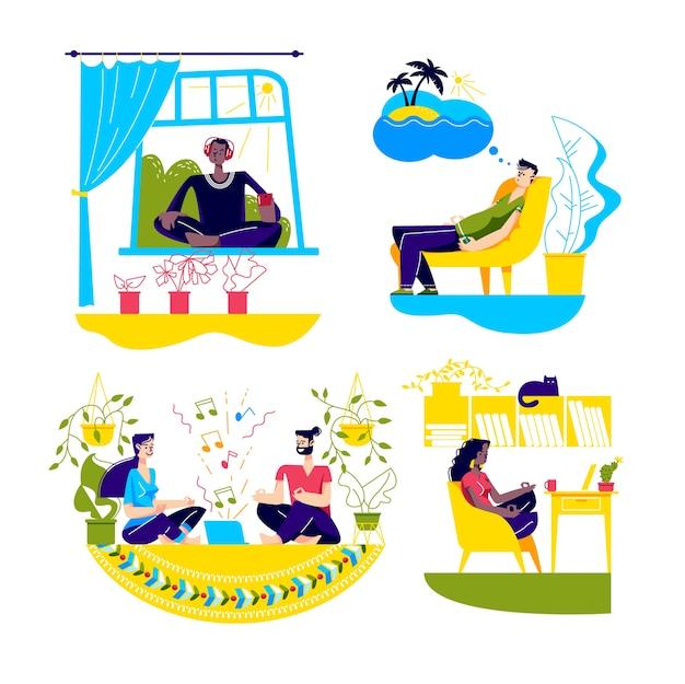 Hausmeditation mit menschen, die zu hause bleiben und yoga praktizieren, während sie unter quarantäne stehen