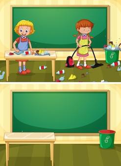 Hausmeister, der schmutziges klassenzimmer säubert