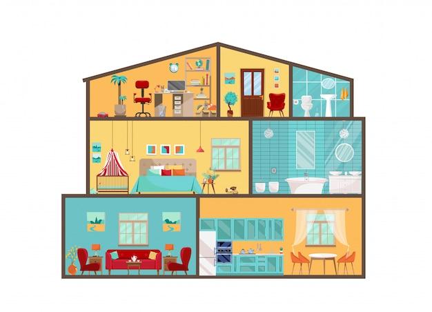 Hausmodell von innen. ausführlicher innenraum mit möbeln und dekor in der flachen vektorart. großes haus im schnitt. cottage cutaway mit interieur von schlafzimmer, wohnzimmer, küche, esszimmer, bad, kinderzimmer