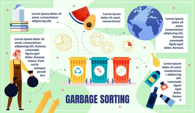 Hausmüll sortieren infografiken vorlage