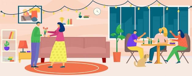 Hausparty, illustration. mann frau menschen charakter zu hause zusammen, junge freundin person im apartmentzimmer. weibliche männliche gruppe trinken, haben spaß innenraum.