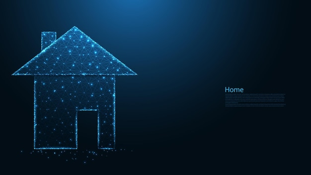 Hauspolygon hauslinienverbindung. immobilien low-poly-wireframe-design. abstrakter geometrischer hintergrund. vektor-illustration.