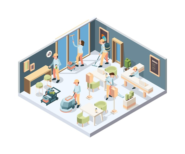 Hausputz. professionelle reinigungskraft in handschuhen schwamm polierfenster und boden im raum isometrisch.