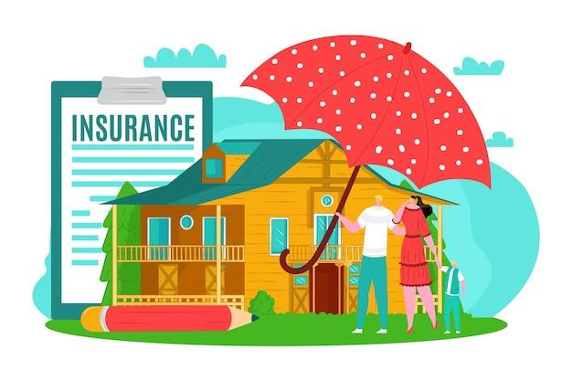 Hausratversicherung für familie, vektorillustration. schutz- und pflegedienst, mann-frau-menschen-charakter unter einem riesigen sicheren regenschirm.