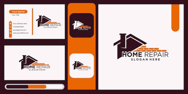 Hausrenovierung hausreparatur heimwerker- und industrielogo-design mit visitenkartenanzeige