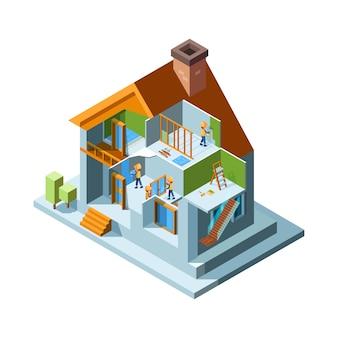 Hausrenovierung. reparaturräume wände boden in wohngebäuden heimarbeiter mit ausrüstung installieren konstrukt