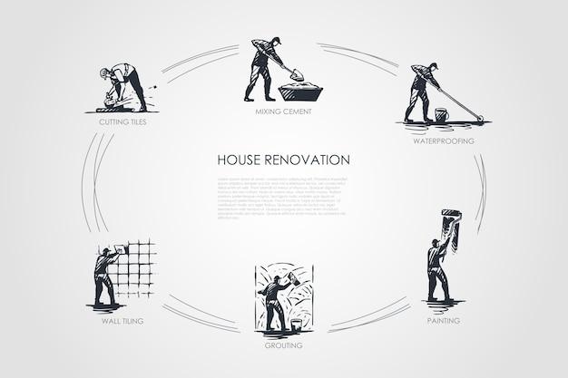 Hausrenovierungskonzeptsatzillustration