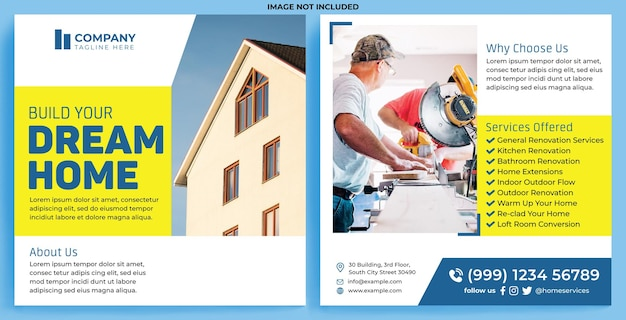 Hausreparatur-promotion-feed instagram im flat-design-stil