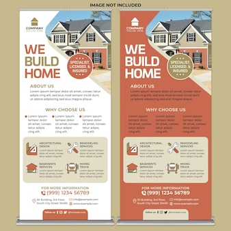 Hausreparatur promotion roll up banner druckvorlage im flachen design-stil