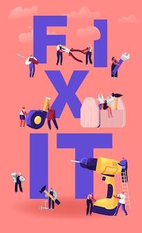 Hausreparatur- und renovierungskonzept. winzige männliche und weibliche charaktere mit riesigen werkzeugen für bauarbeiten bohrhammerschlüssel. karikatur flache illustration