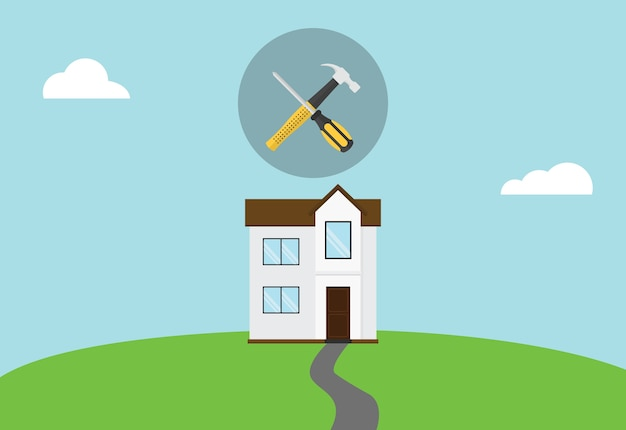 Hausreparaturwartungs-symbolikone mit hammer und schraubenzieher auf die oberseite