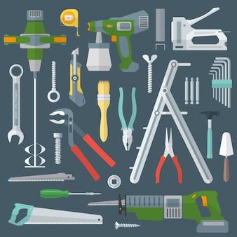 Hausreparaturwerkzeuge instrumente gesetzt