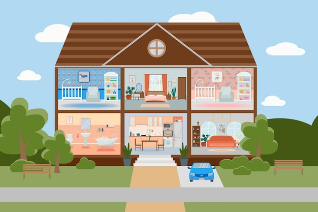 Hausschnitt detaillierte wohneinrichtung mit möbeln küche wohnzimmer schlafzimmer kinderzimmer