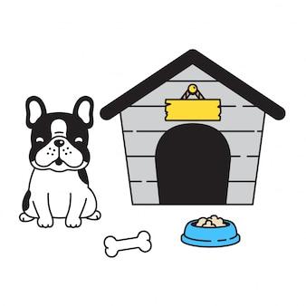 Hausschüssel-ballkarikatur der französischen bulldogge des hundetatzenvogels