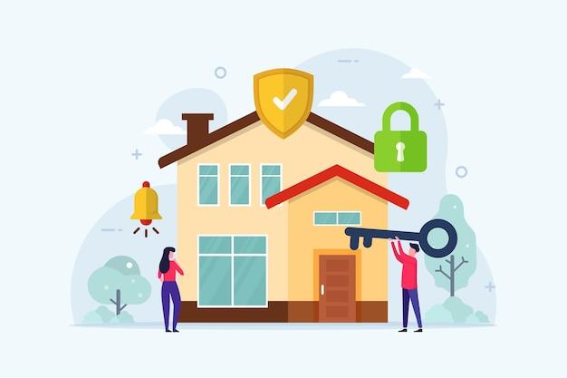 Haussicherer schutz mit schloss-sicherheitssystem