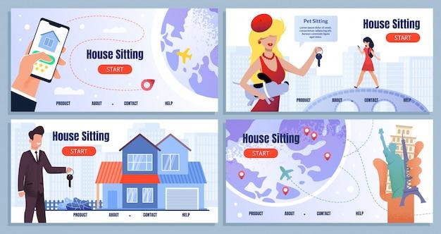 Haussitzen-service-karikatur-landungs-seiten-satz