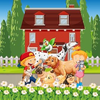 Hausszene im freien mit vielen kindern, die mit ihren hunden spielen