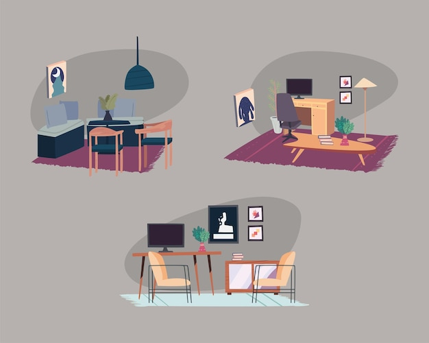 Hausszenen und wohnzimmerdekoration
