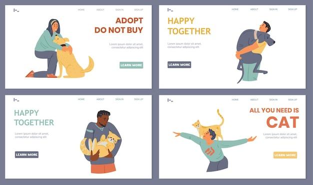 Haustier-adoption landing page templates glückliche menschen, die sich umarmen und mit hunden und katzen spielen