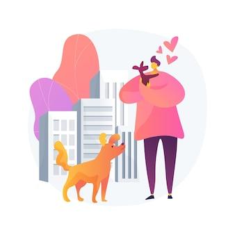 Haustier in der abstrakten konzeptillustration der großstadt. halten sie das tier in der wohnung, gehen sie mit dem haustier spazieren, halten sie sich an die stadt, die regeln und vorschriften, reinigen sie die außenanlage