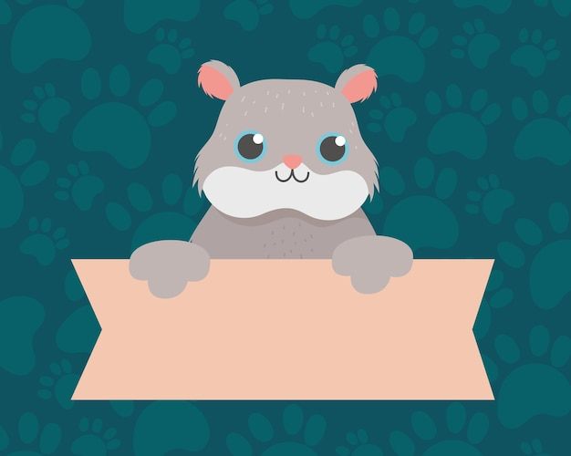 Haustier niedlichen hamster mit banner, tierkarikatur inländische vektorillustration