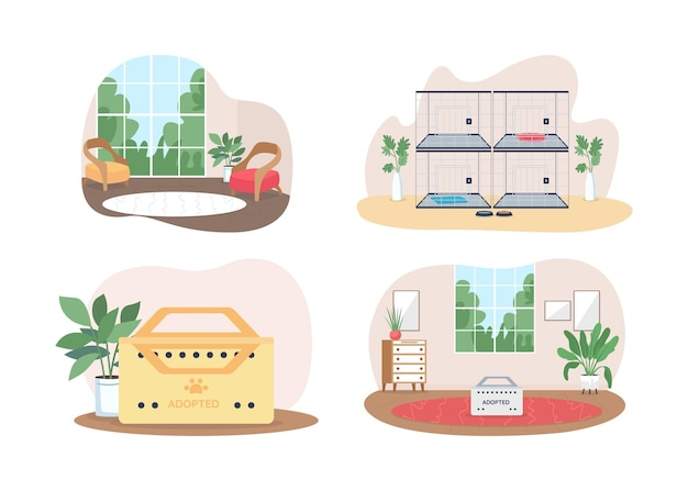 Haustierannahme 2d-set. tierheim für obdachlose katzen und hunde flach