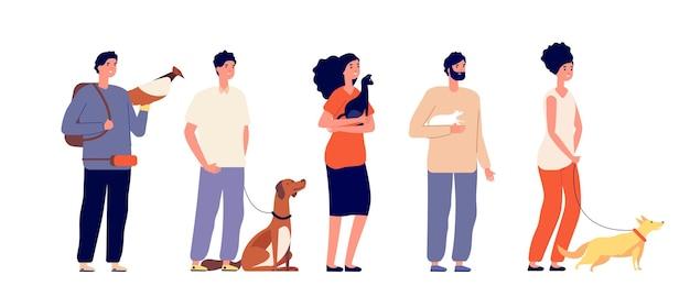 Haustierbesitzer. mann frau, die haustiere umarmt. isolierte leute mit katzenhund, vogel und ratte. haustiere, stehende junge freunde charaktere. mann und frau charakter, freund welpenillustration