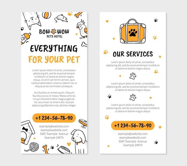 Haustiere hotel flyer vorlage zum drucken im doodle-stil