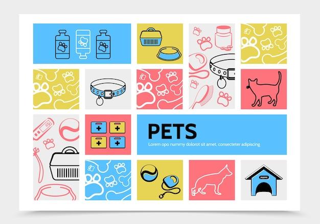 Haustiere infografik vorlage