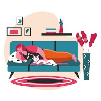 Haustiere mit ihrem besitzerszenenkonzept. frau mit hund liegt auf der couch, ruhen sie sich zu hause aus. betreuung von haustieren, beziehung zum tier, aktivitäten der menschen. vektor-illustration von charakteren im flachen design