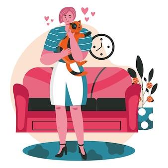 Haustiere mit ihrem besitzerszenenkonzept. frau umarmt katze, während sie im wohnzimmer steht. betreuung von haustieren, beziehung zum tier, aktivitäten der menschen. vektor-illustration von charakteren im flachen design