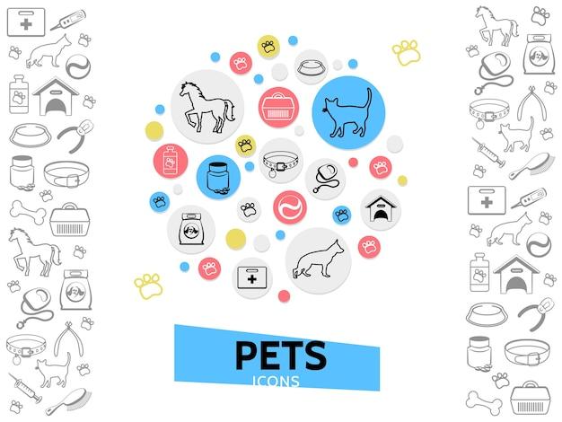 Haustiere pflege vorlage mit katze hundehalsbänder füttern hundehütte träger medical kit leine pillen kamm nagelknipser
