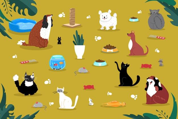 Haustiere zubehör dinge produktikone, haus haus katze hund aquarium zeug illustration. inländisches heimkreaturspielzeugspiel.