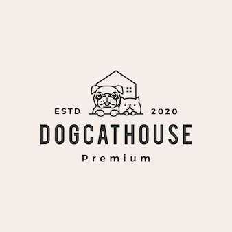 Haustierhaus-hundekatze-hipster-weinleselogoikonenillustration