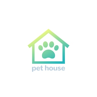 Haustierhaus-logo, pfote und hausvektorsymbol