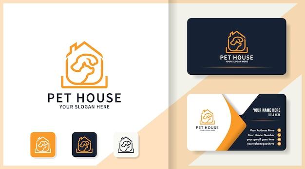 Haustierhaus-umriss-logo und visitenkarten-design