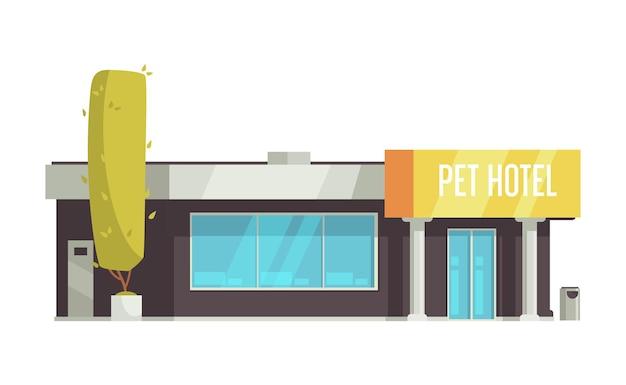 Haustierhotelgebäudekarikatur auf weiß